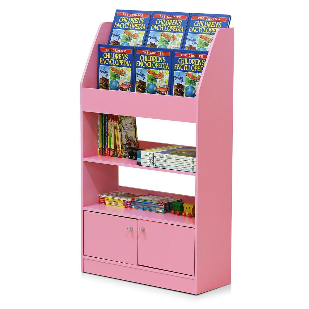Furinno Kidkanac Pink Toy Storage Cabinet Bookshelf