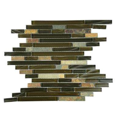 New Era II Wild Life Brown Linear Mosaic 12 in. x 12 in. Glass and Stone Mesh Mounted Wall Tile (1.02 Sq. ft.)