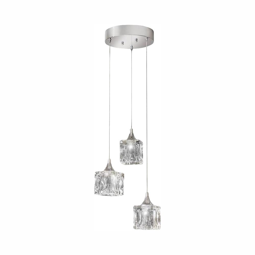 Home Decorators Collection 3-Light Polished Chrome Integrated LED Pendant with Clear Cube Glass