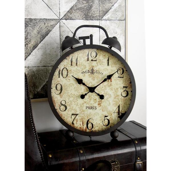 25 in  x 21 in  Black Alarm-Clock-Style Round Table Clock