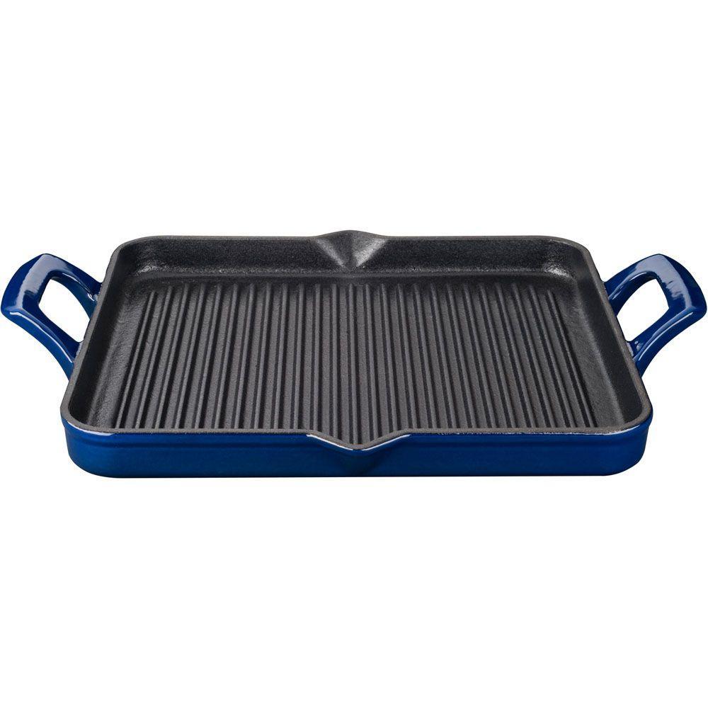 La Cuisine 1 Qt. Cast Iron Rectangular Grill Pan with Blue