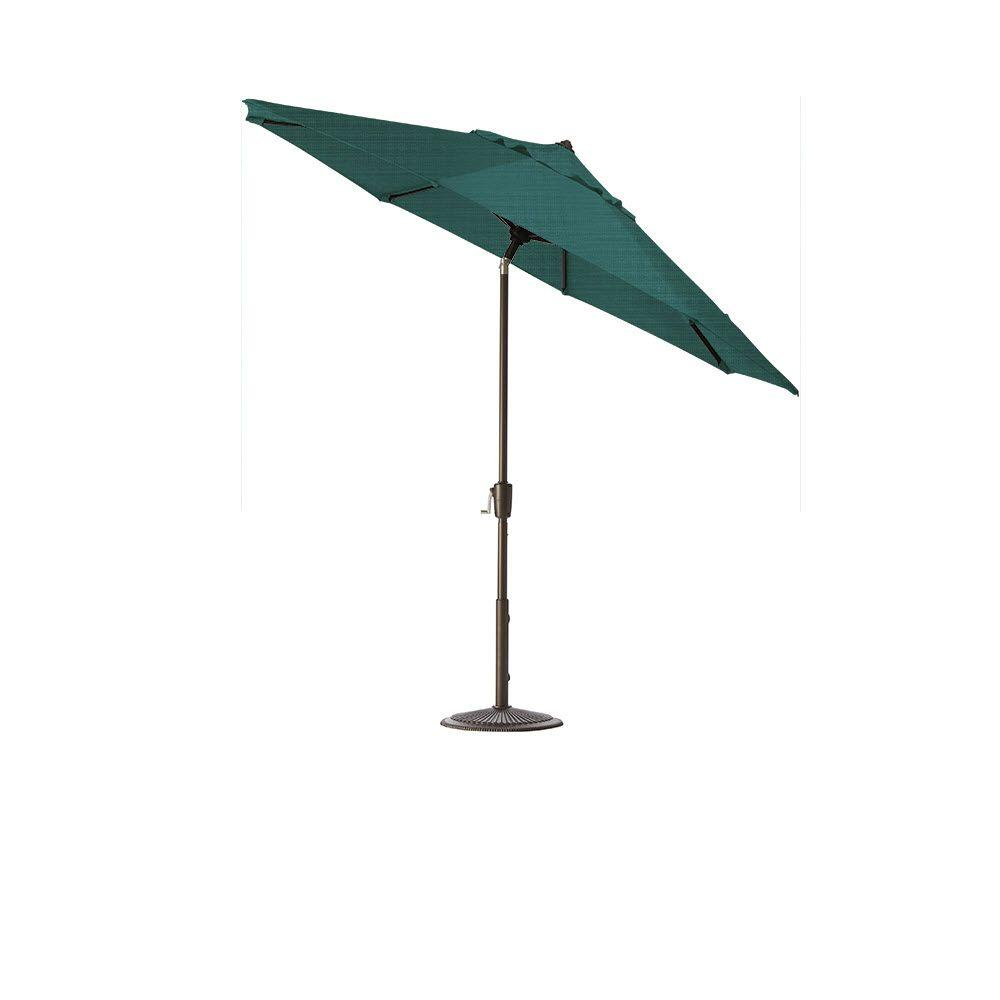 Home Decorators Collection 7.5 ft. Auto-Tilt Patio Umbrella in Sparkle Peacock Outdura with Bronze Frame