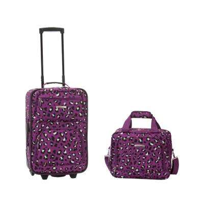 Rockland Rio Expandable 2-Piece Carry On Softside Luggage Set, Purpleleopard