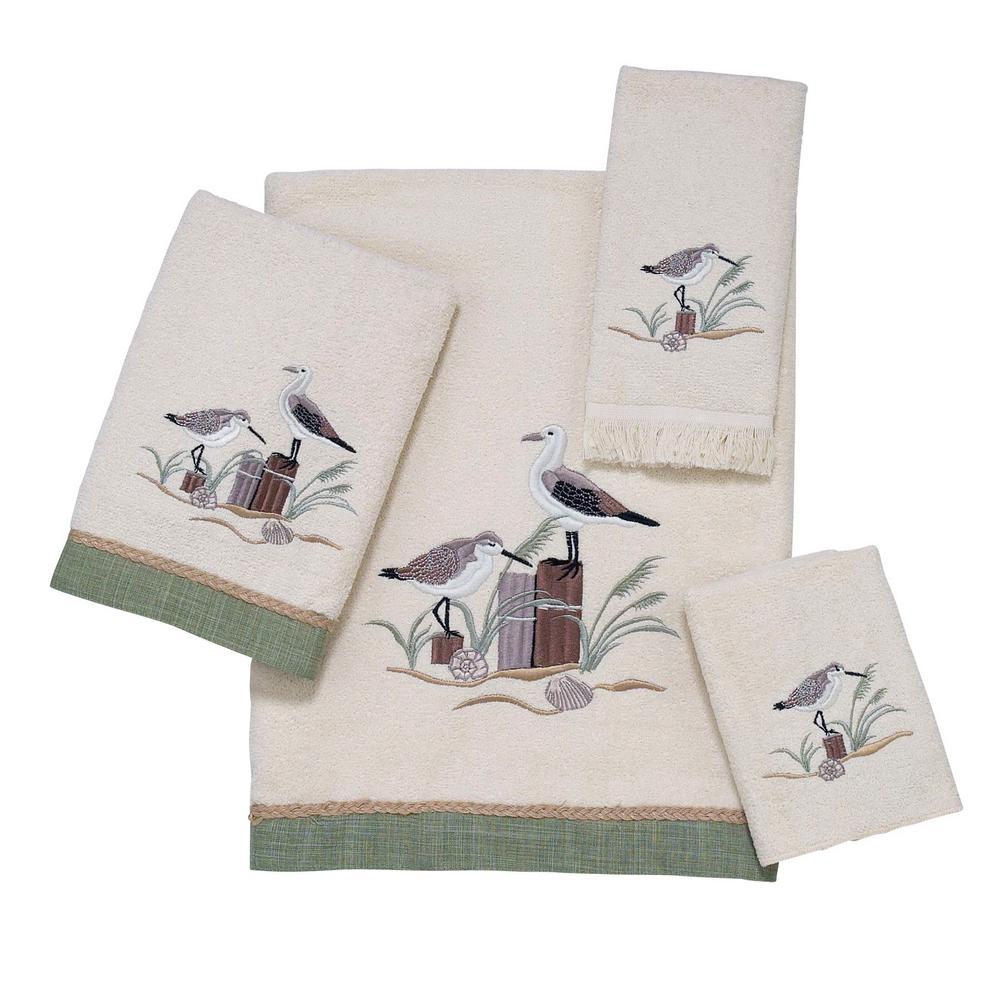 Sea Birds 4-Piece Bath Towel Set in Ivory