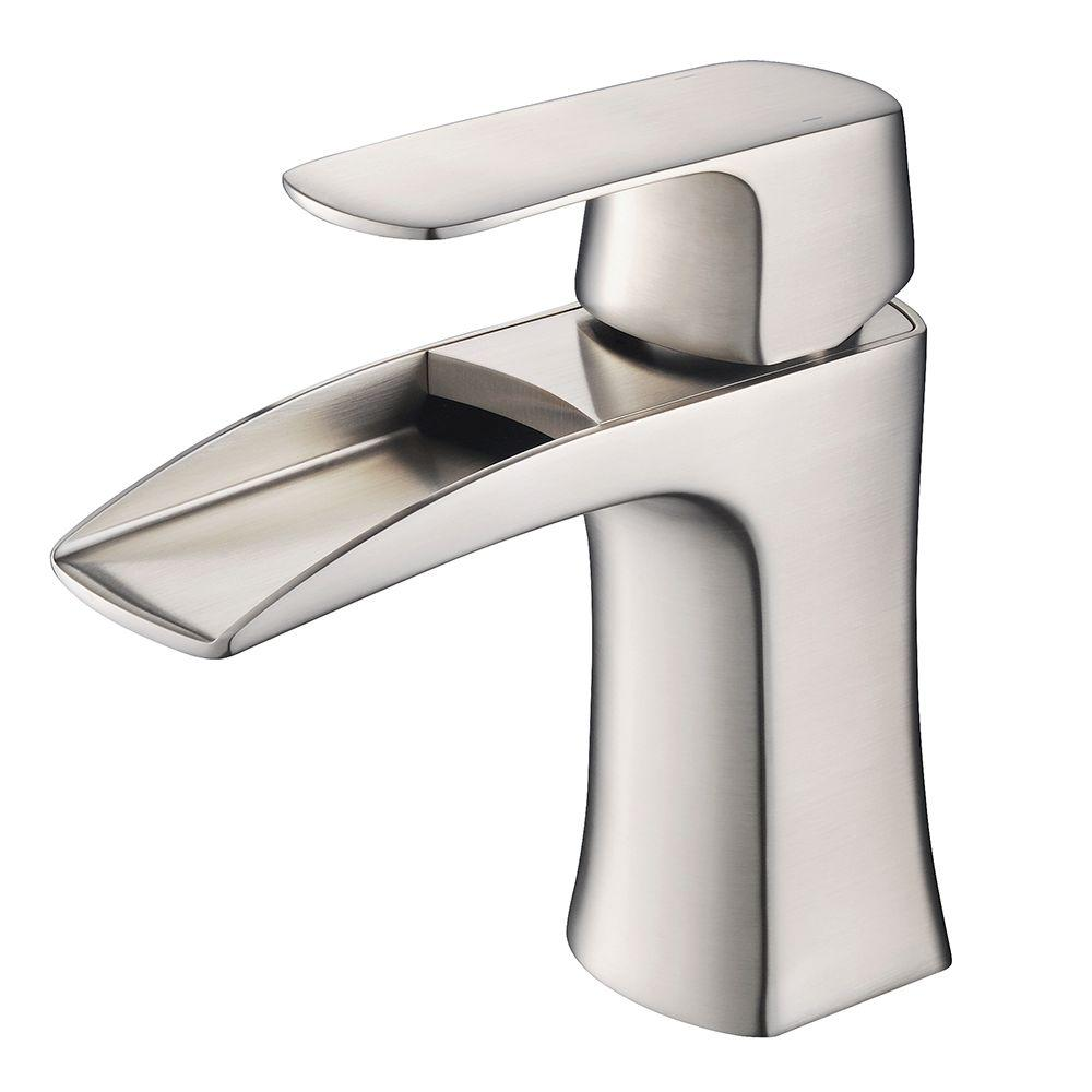 Fresca fortore single hole single handle low arc bathroom - Single hole bathroom faucets brushed nickel ...