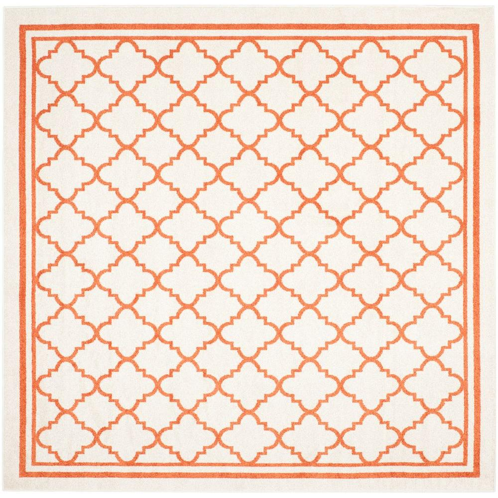 Amherst Beige/Orange 7 ft. x 7 ft. Indoor/Outdoor Square Area Rug