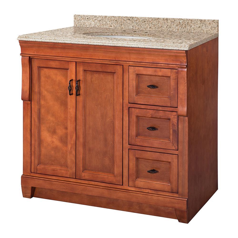 Naples 37 in. W x 22 in. D Vanity in Warm Cinnamon with Granite Vanity Top in Beige with White Sink