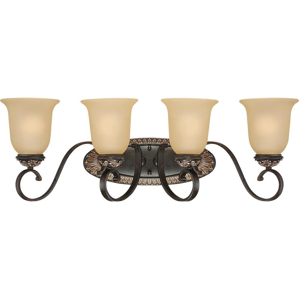 Genial Volume Lighting Bristol 4 Light Vintage Bronze And Antique Gold Bathroom  Vanity Light