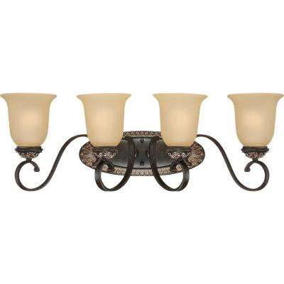 Bristol 4-Light Vintage Bronze and Antique Gold Bathroom Vanity Light