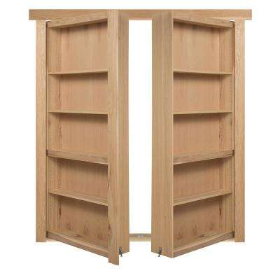 72 in. x 80 in. Flush Mount Assembled Hickory Natural Stained Out-Swing Solid Core Interior French Bookcase Door