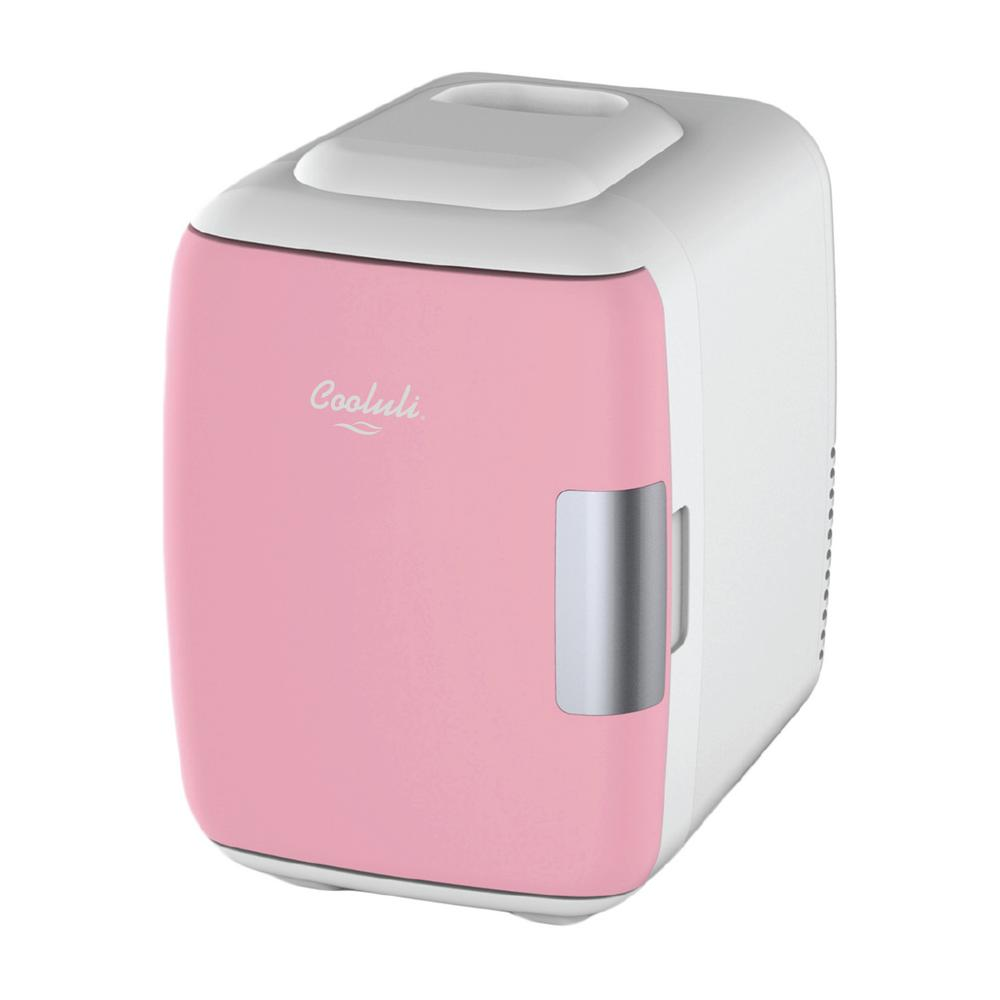 COOLULI Classic 0.14 cu. ft. Retro Mini Fridge in Pink without Freezer