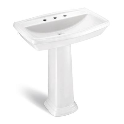 Designer 30 in. Pedestal Sink Basin with 4 in. Faucet Center in White