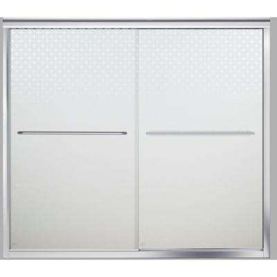 Finesse 59-5/8 in. x 58-1/16 in. Frameless Sliding Tub Door in Silver with Starscape Glass Pattern