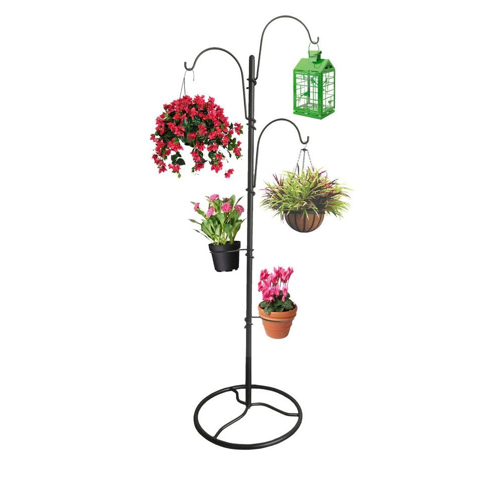 Tree Shape Planter Stand 64.5'' Outdoor Black Steel 3 ... on Stand For Hanging Plants  id=63251