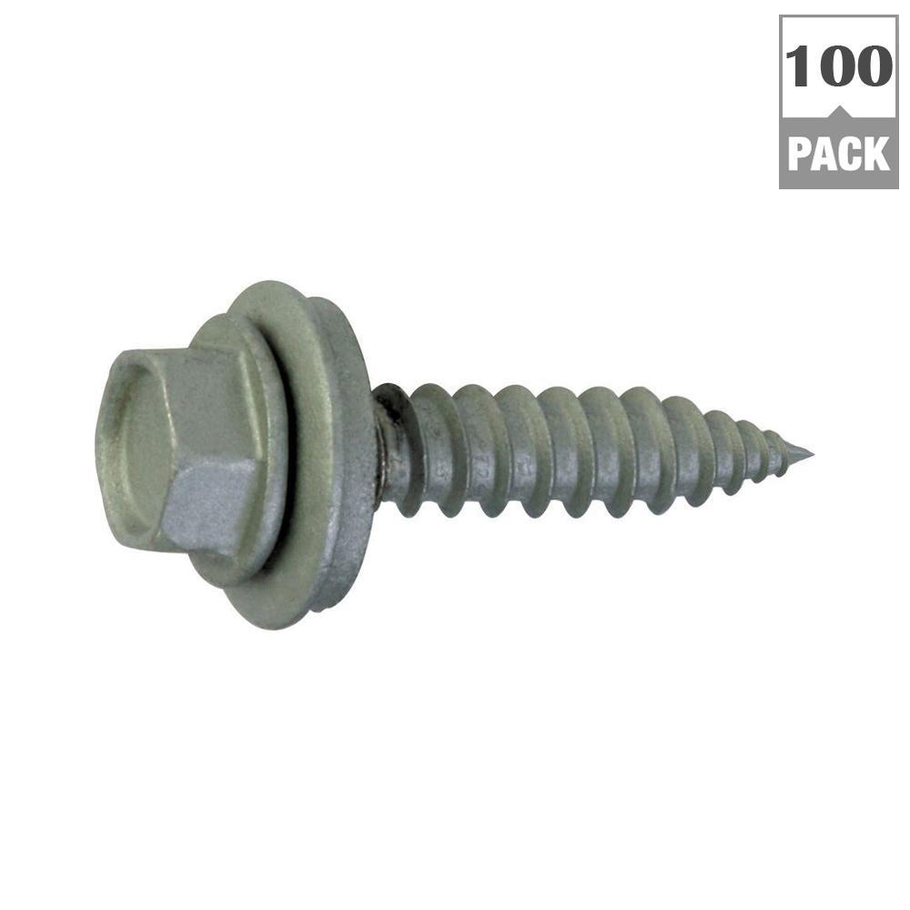 #9 x 1-1/2 in. External Hex Zinc Plated Steel Hex Washer Head Roofing Screws (100-Pack)