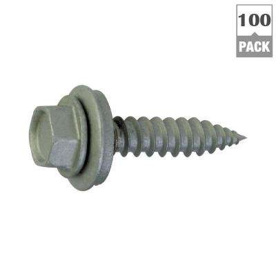 #9 x 1-1/2 in. Zinc Plated Steel Hex Washer Head Roofing Screws (100-Pack)