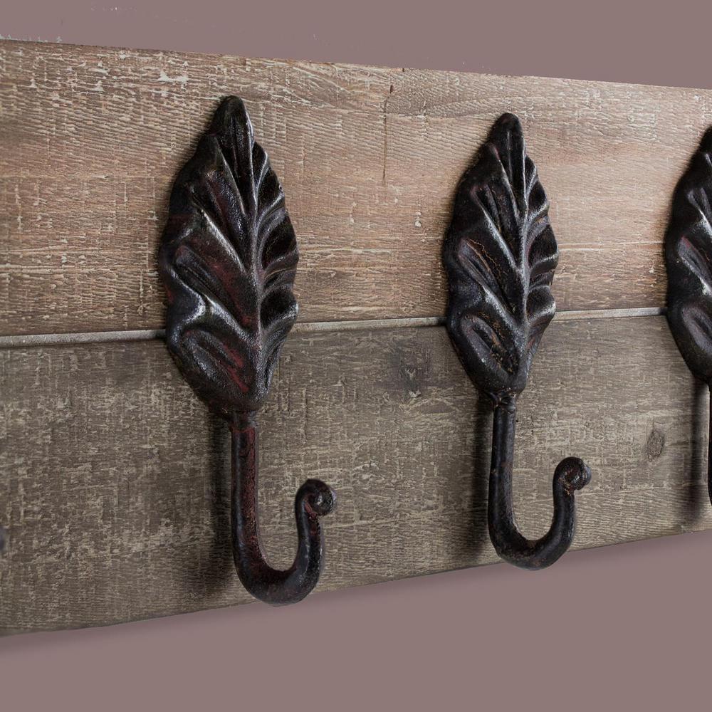 Decorative Rustic Wood/Metal Leaves Coat Rack