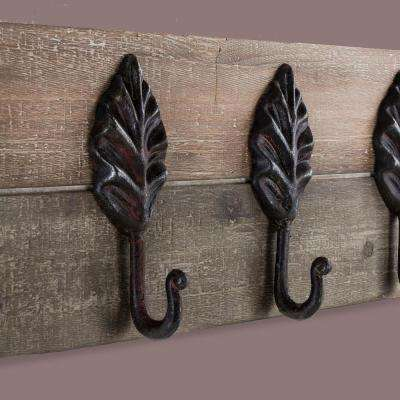 Decorative Rustic Wood/Metal Leaves Coat Rack