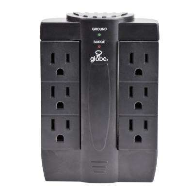 6-Outlet Swivel Wall Tap with Surge Protection - Black Finish