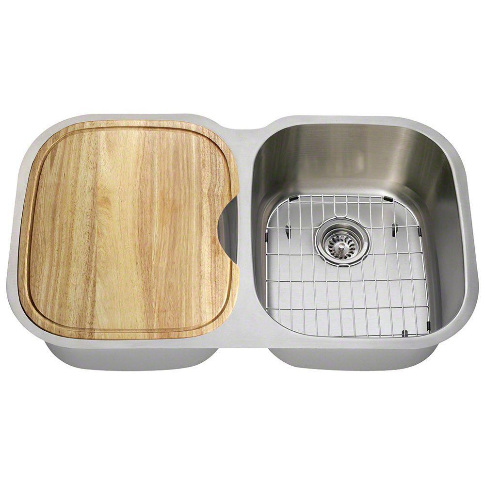 Undermount Stainless Steel 35 in. Double Bowl Kitchen Sink Kit