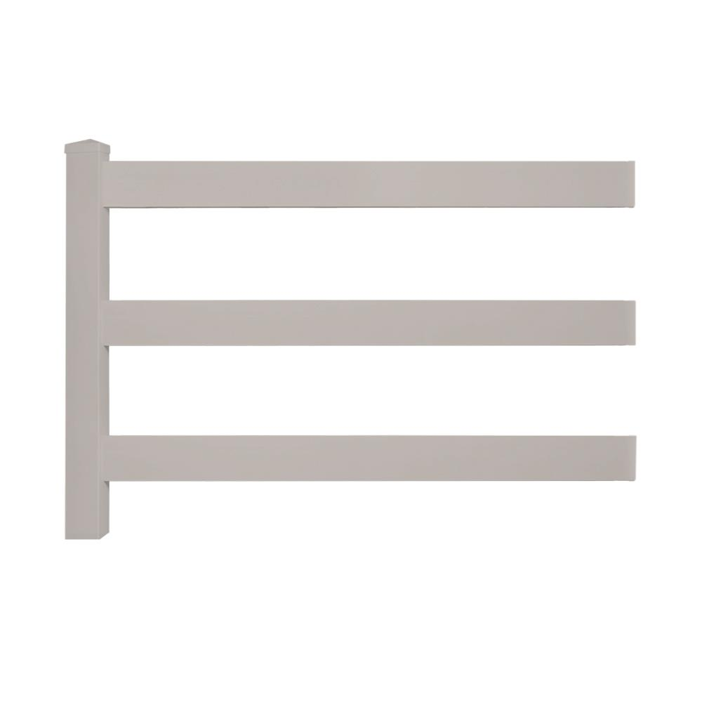 Weatherables 4 Ft H X 8 Ft W 3 Rail Tan Vinyl Fence