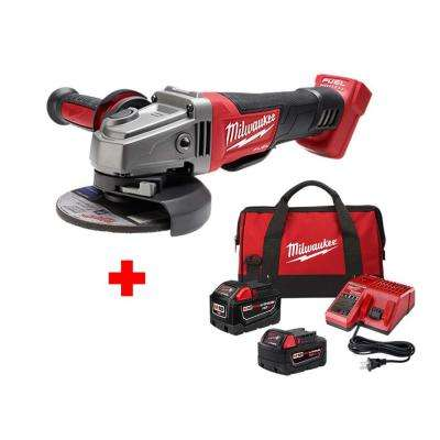 M18 FUEL 18-Volt Lithium-Ion Brushless Cordless 4-1/2 in./5 in. Grinder with One 9.0Ah and One 5.0 Ah Battery