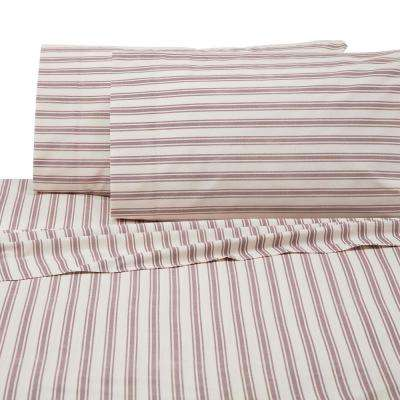 Anderson 4-Piece Red/White Cotton/Poly King Sheet Set