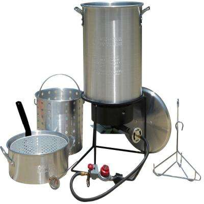 12 in. Portable Outdoor Propane Gas Deep Frying/Boiling Package with Two Aluminum Pots