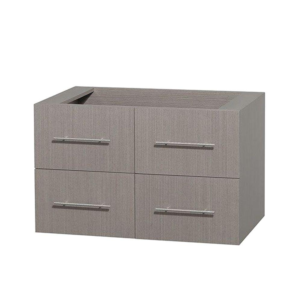 Wyndham Collection Centra 35 in. Vanity Cabinet Only in Gray Oak