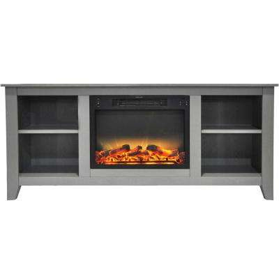 Bel Air 63 in. Electric Fireplace and Entertainment Stand in Gray with Enhanced Log Display