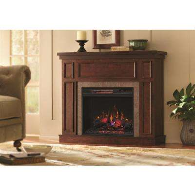Convertible Mantel Electric Fireplace In Antique Cherry With Faux Stone Surround