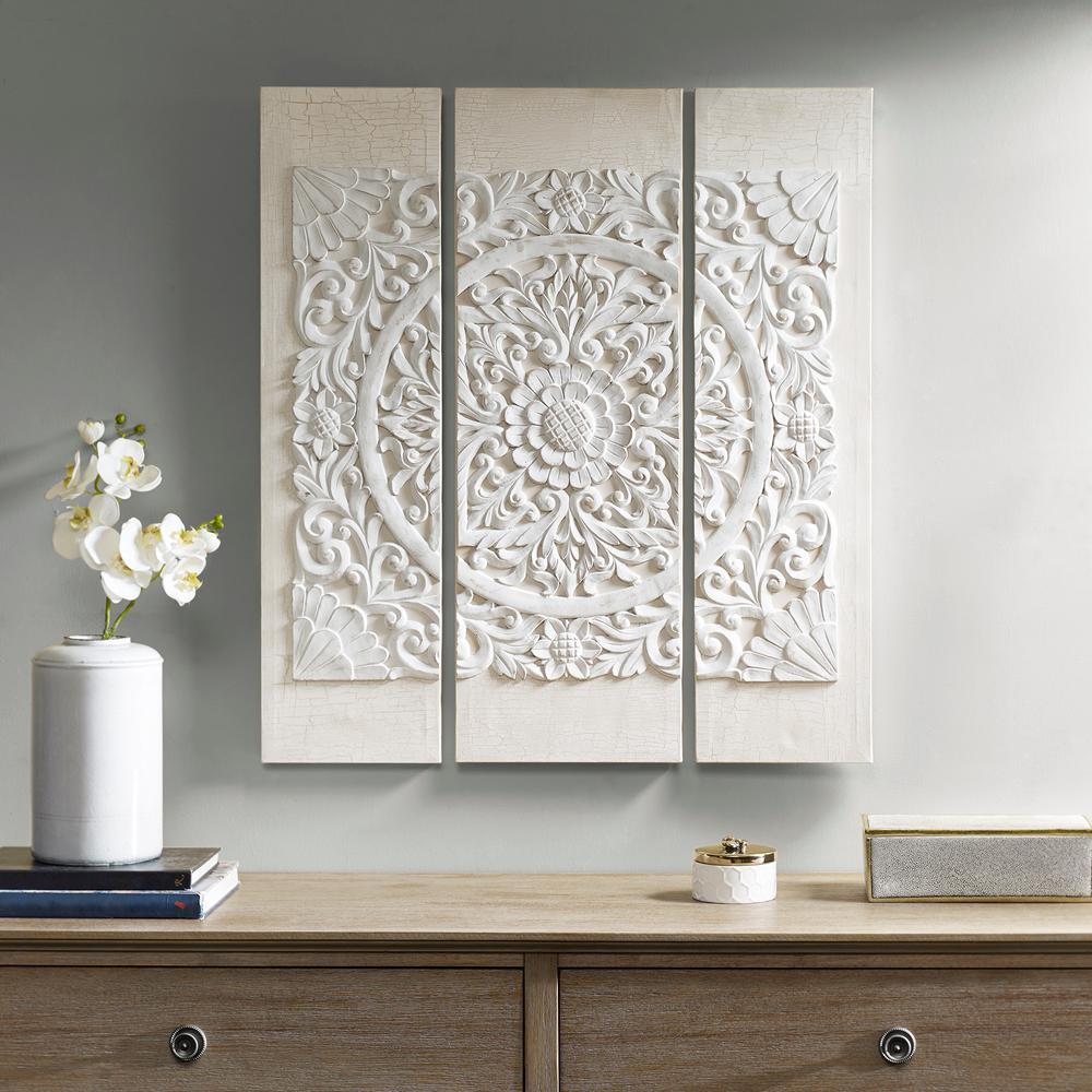 Madison Park Wooden Mandala White 3d Embellished Canvas Wall Art Mp95a 0115 The Home Depot