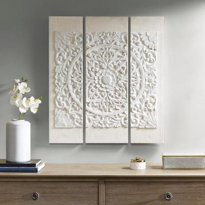Wooden Mandala White 3D Embellished Canvas Wall Art