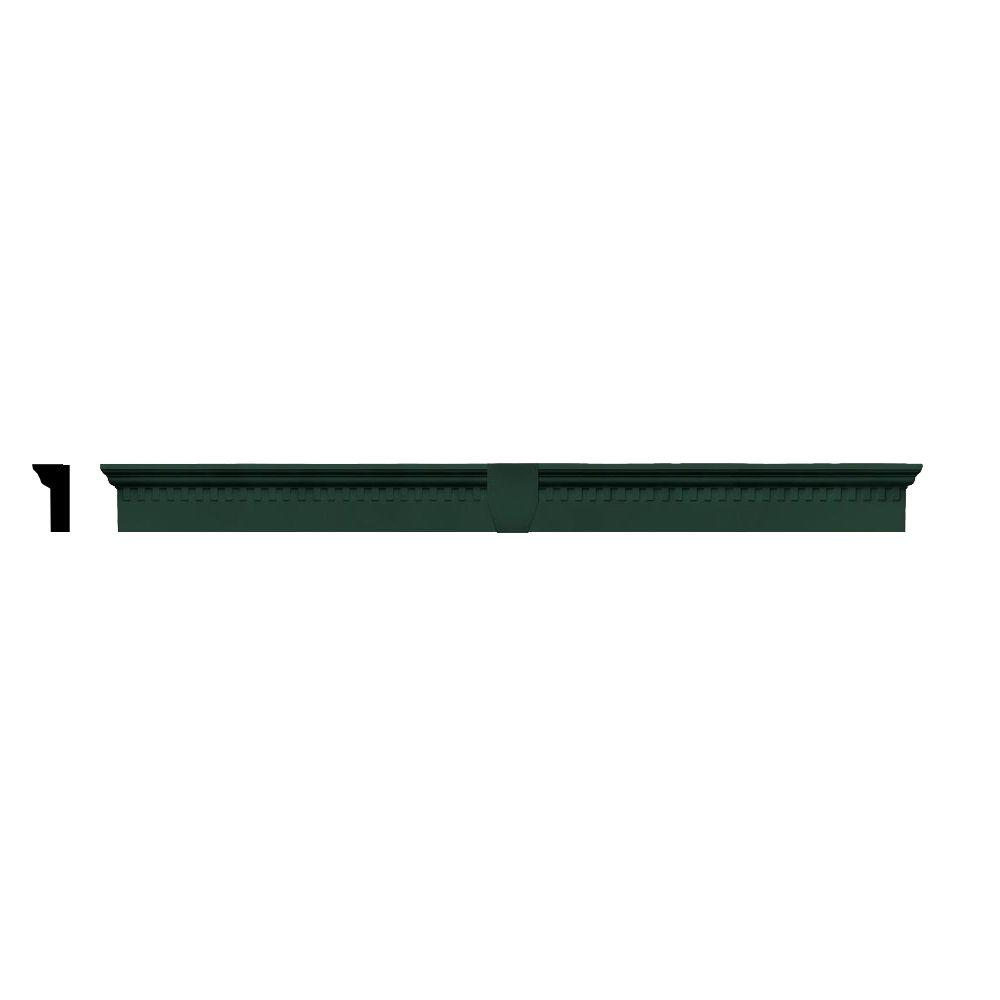 Builders Edge 2-5/8 in. x 6 in. x 73-5/8 in. Composite Classic Dentil Window Header with Keystone in 122 Midnight Green