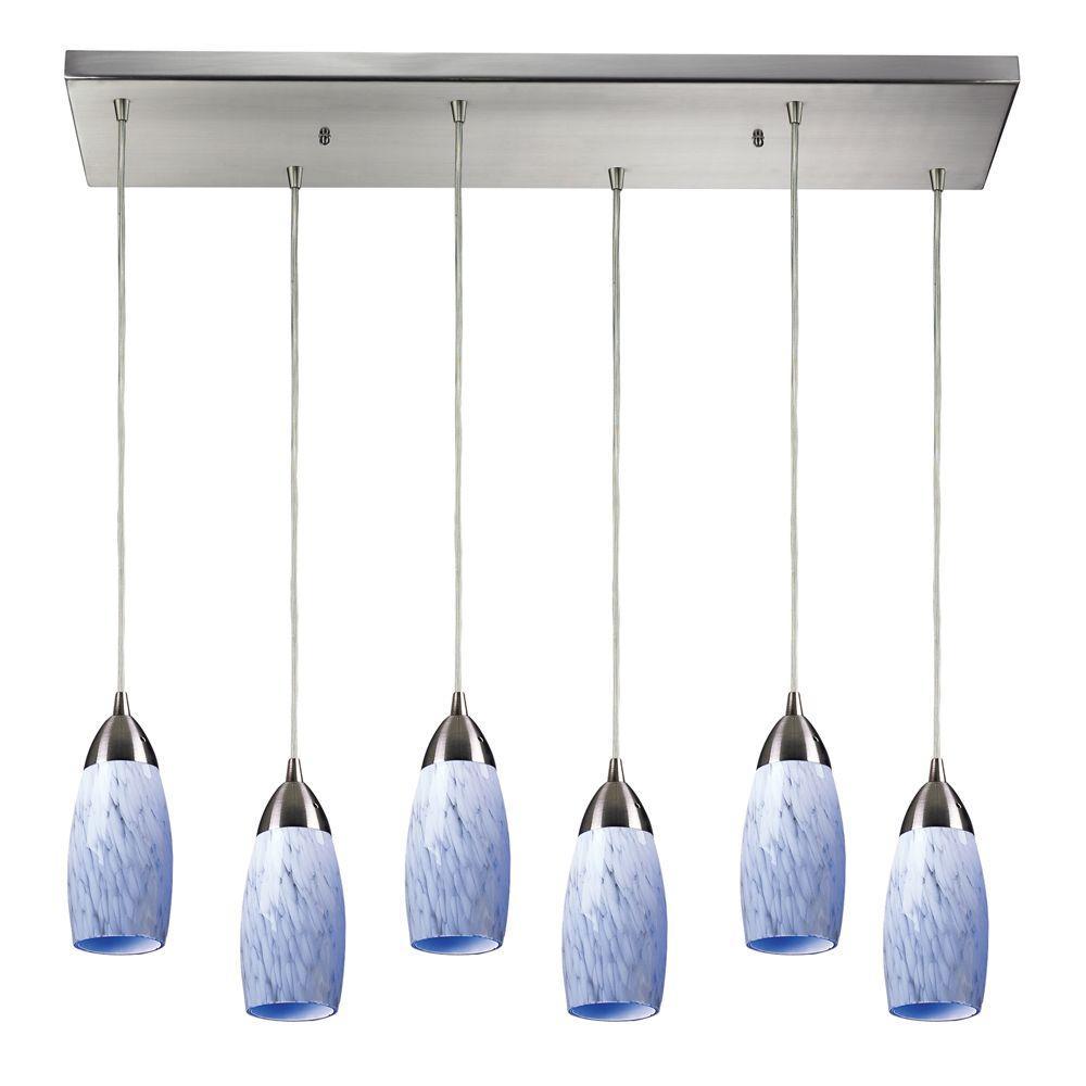 Titan Lighting Milan 6-Light Satin Nickel Ceiling Mount Pendant