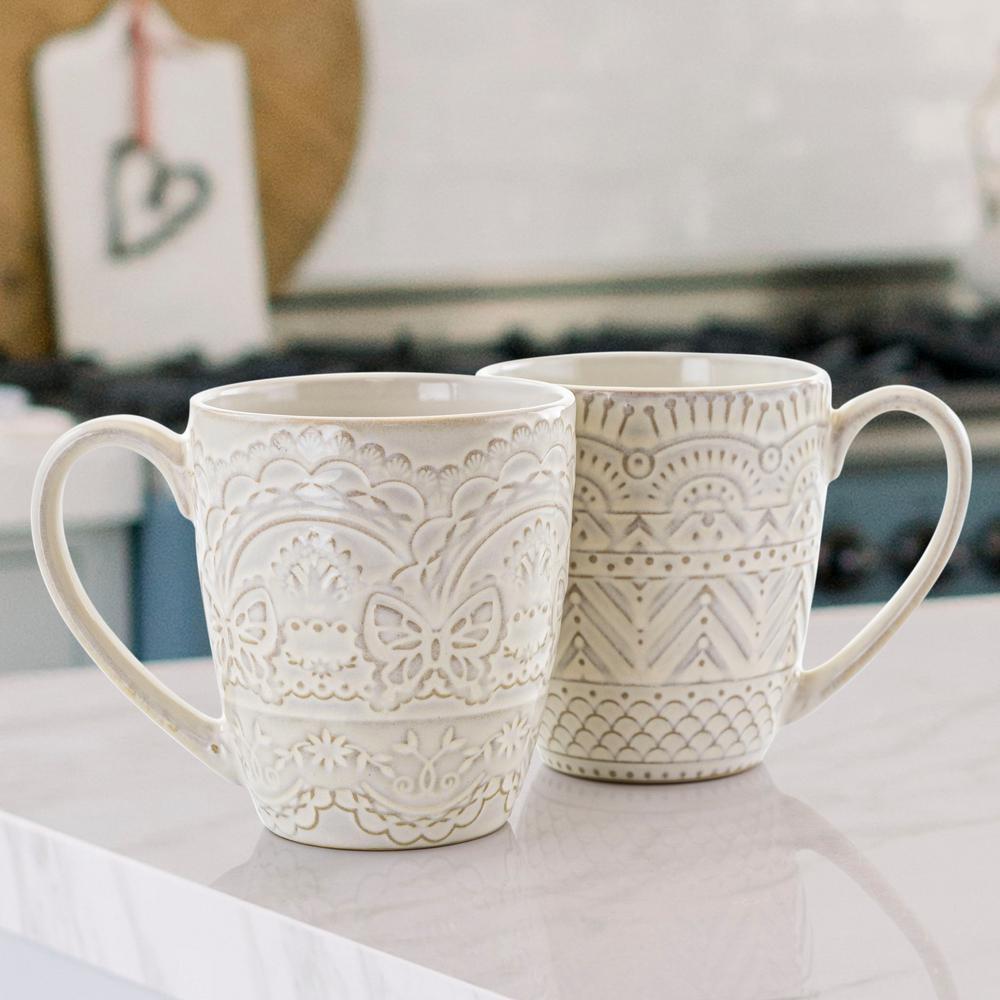 14 oz. White Assorted Stoneware Mug (Set of 4)