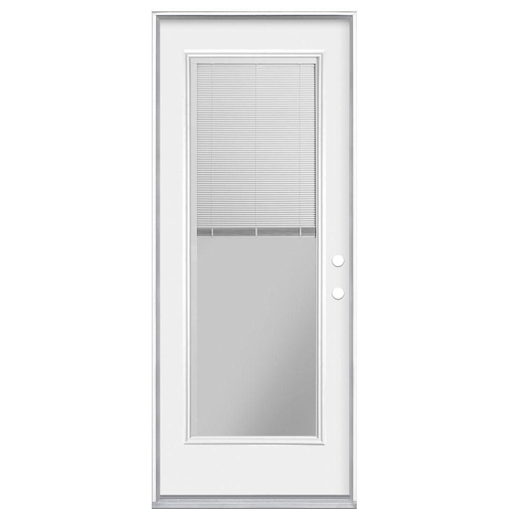 Masonite 32 in. x 80 in. Mini Blind Left Hand Inswing Primed Steel Prehung Front Exterior Door No Brickmold