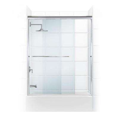 Paragon 3/8 Series 60 in. x 58 in. Semi-Framed Sliding Tub Door with Radius Curved Towel Bar in Chrome