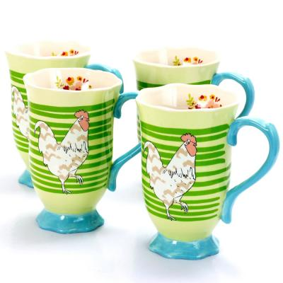 Life On The Farm 14 oz Green Rooster Stripes Design Footed Tea Cup (Set of 4)