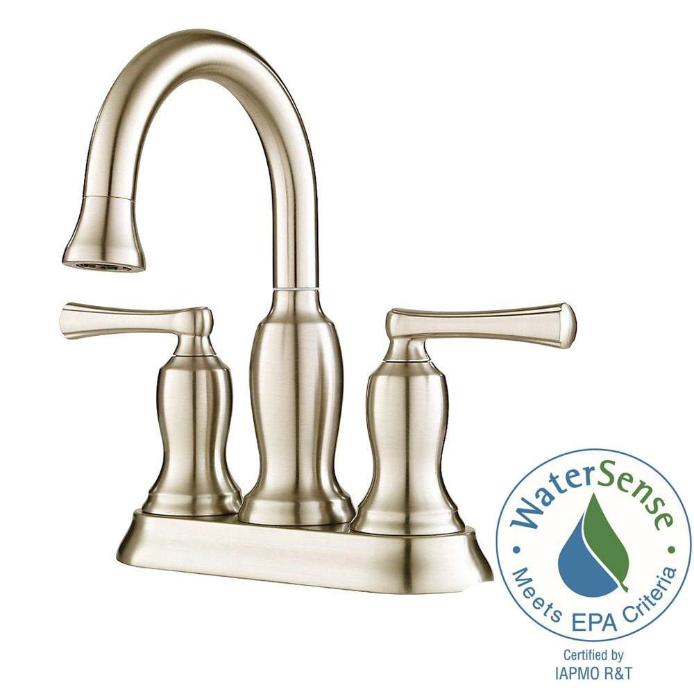 Pfister Lindosa 4 in. Centerset 2-Handle High-Arc Bathroom Faucet in Brushed Nickel