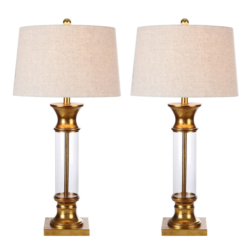 Metal/Glass Table Lamp, Gold Leaf (Set