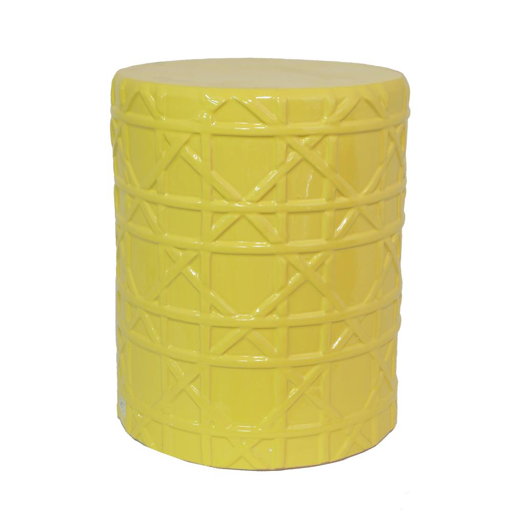 THREE HANDS 13 in. x 13 in. Yellow Garden Stool