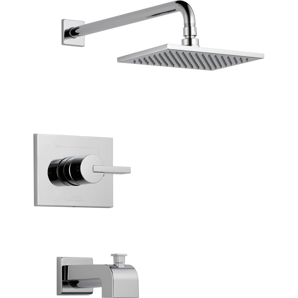 Delta Vero 1 Handle Tub And Shower Faucet Trim Kit Only In Chrome Valve Not Included T14453 The Home Depot