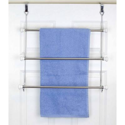 3-Bar Towel Rack in Chrome with Ceramic Knobs