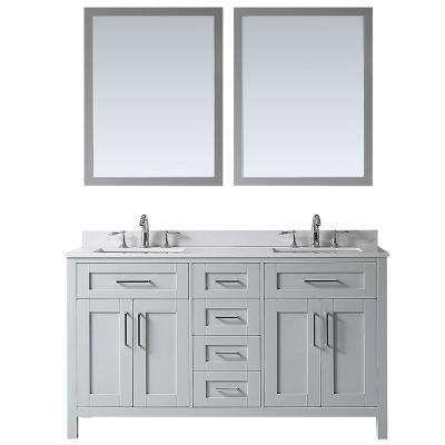 OVE Tahoe 60 in. W x 21 in. D Vanity in Dove Grey with Cultured Stone Vanity Top in White with White Basin and Mirror