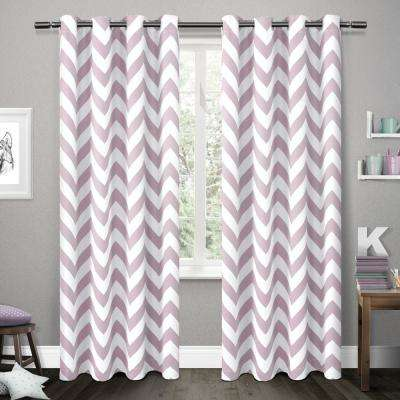 Mars 54 in. W x 96 in. L Woven Blackout Grommet Top Curtain Panel in Lilac (2 Panels)