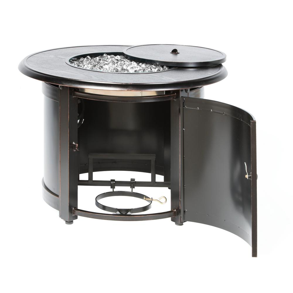 Alfresco Manchester 36 in. x 25 in. Round Aluminum Match Lit Propane Gas Fire Pit Chat Table with Glacier Ice Firebeads