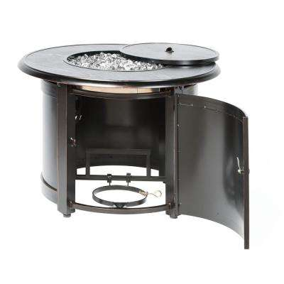 Manchester 36 in. x 25 in. Round Aluminum Match Lit Propane Gas Fire Pit Chat Table with Glacier Ice Firebeads
