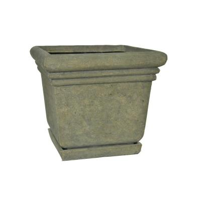 14-1/2 in. Square Aged Granite Cast Stone Planter with Attached Saucer