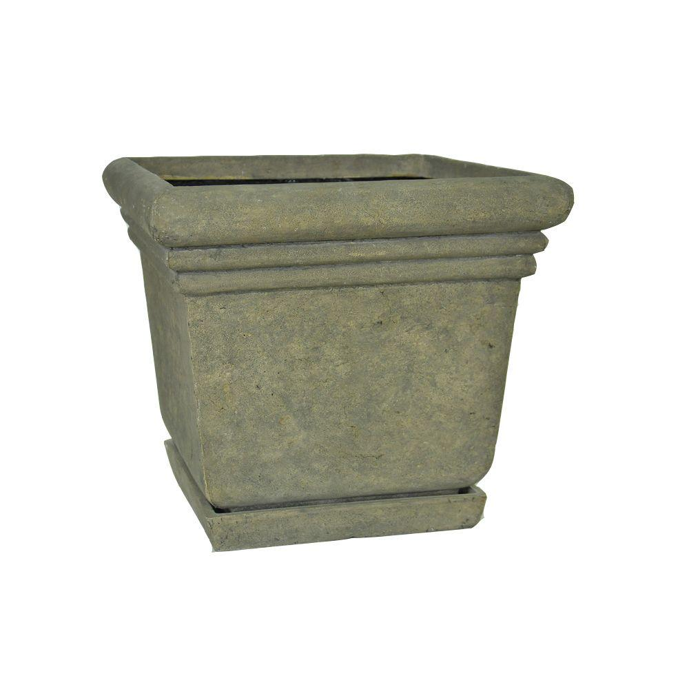 MPG 14-1/2 in. Square Aged Granite Cast Stone Planter with Attached Saucer